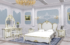 Спальня Дольче Вита белый глянец с золотом